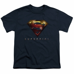 Supergirl Kids Shirt Logo Glare Navy Blue T-Shirt