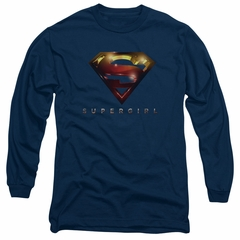 Supergirl Long Sleeve Shirt Logo Glare Navy Blue Tee T-Shirt