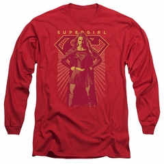 Supergirl Long Sleeve Shirt Ready Set Red Tee T-Shirt