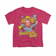 Supergirl Shirt Positively Rad Kids Hot Pink Youth Tee T-Shirt