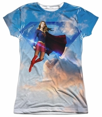 Supergirl Shirt Up In The Sky Sublimation Juniors Shirt