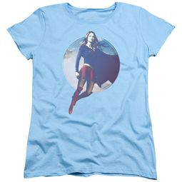 Supergirl Womens Shirt Cloudy Circle Light Blue T-Shirt