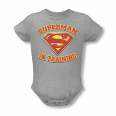 Superman Baby Romper In Training Athletic Heather Infant Babies Creeper