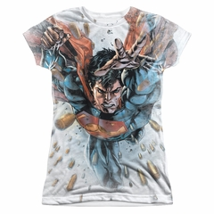 Superman Bullets In The Sky Sublimation Juniors Shirt
