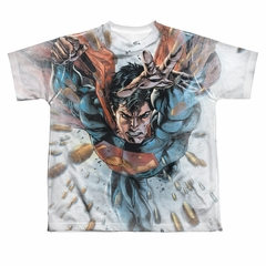 Superman Bullets In The Sky Sublimation Kids Shirt Front/Back Print