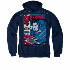 Superman Hoodie Action Packed Navy Sweatshirt Hoody
