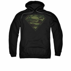 Superman Hoodie Camo Logo Distressed Black Sweatshirt Hoody