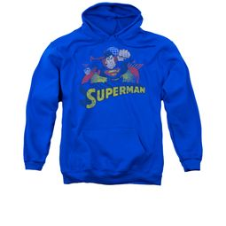 Superman Hoodie Distresed Royal Sweatshirt Hoody