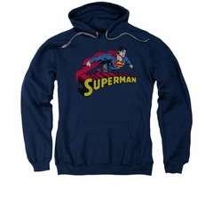 Superman Hoodie Flying Over Navy Sweatshirt Hoody