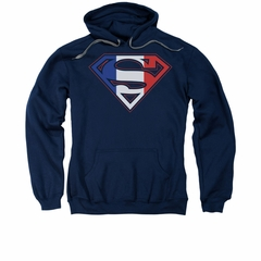 Superman Hoodie French Shield Navy Sweatshirt Hoody