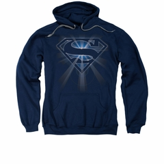 Superman Hoodie Glowing Shield Navy Sweatshirt Hoody