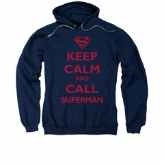Superman Hoodie Keep Calm Navy Sweatshirt Hoody