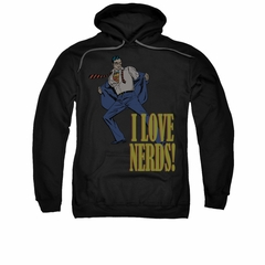Superman Hoodie Love Nerds Black Sweatshirt Hoody