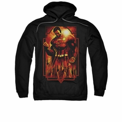 Superman Hoodie Standing Over Black Sweatshirt Hoody