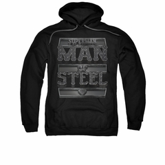 Superman Hoodie Steel Text Black Sweatshirt Hoody