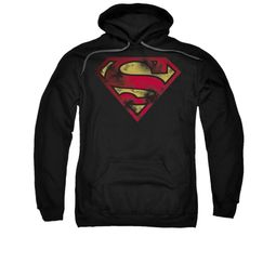 Superman Hoodie War Torn Shield Black Sweatshirt Hoody