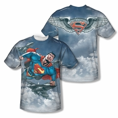 Superman In The Sky Sublimation Kids Shirt Front/Back Print