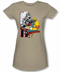 Superman Juniors Shirt Off The Rails DC Comics Superhero Sand T-Shirt