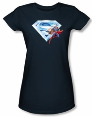 Superman Juniors T-Shirt Crystal Logo Shield Navy Blue Tee Shirt