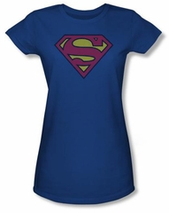 Superman Juniors T-shirt Little Logos Shield Royal Blue Tee Shirt