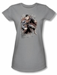 Superman Justice League Juniors T-shirt Bricks Silver Gray Tee Shirt