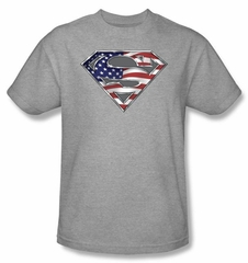 Superman Kids Shirt American Flag Shield Patriotic Superman Youth Tee