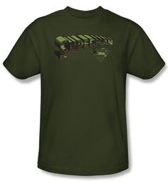 Superman Kids T-shirt Camo Logo And Shield Army Green Tee Youth