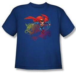 Superman Kids T-shirt  Cool Word Supes Youth Royal Blue Tee Shirt