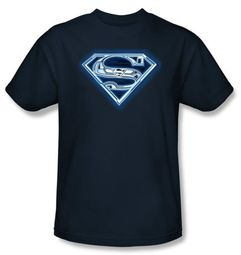 Superman Kids T-shirt Cyber Shield Navy Blue Tee Youth