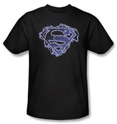 Superman Kids T-Shirt Electric Supes Shield Logo Black Tee Youth