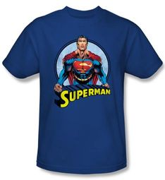Superman Kids T-shirt Flying High Again Royal Blue  Tee Youth