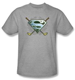 Superman Kids T-shirt Fore! Golf Clubs Heather Gray Tee Youth