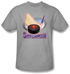 Superman Kids T-shirt Hockey Stick And Puck Heather Gray Tee Youth