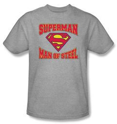 Superman Kids T-shirt Man Of Steel Jersey Heather Gray Tee Youth
