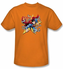 Superman Kids T-shirt Stars And Chains Superhero Orange Tee Youth