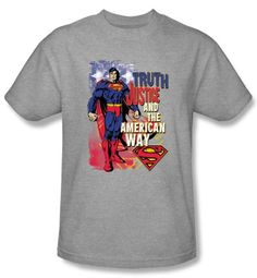 Superman Kids T-shirt Truth Justice Youth Heather Gray Tee Shirt