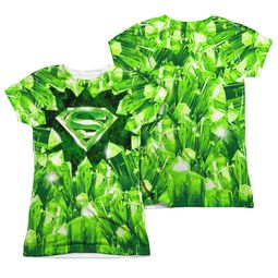 Superman Kryptonite Shield Sublimation Juniors Shirt Front/Back Print
