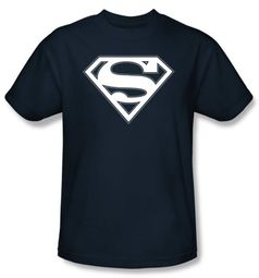 Superman Logo Kids T-Shirt Navy And White Shield Navy Blue Tee Youth