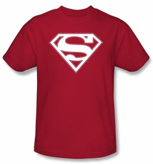 Superman Logo Kids T-Shirt Red & White Shield  Red Tee Youth