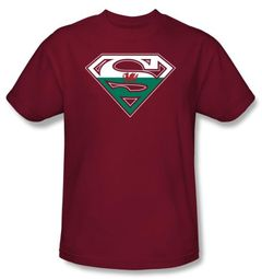 Superman Logo Kids T-Shirt Welsh Shield Cardinal Red Tee Youth