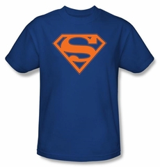 Superman Logo Shirt Blue And Orange Shield Royal Blue T-Shirt Tee