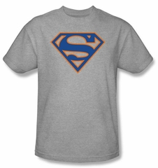 Superman Logo T-shirt Blue and Orange Shield Adult Gray Tee Shirt