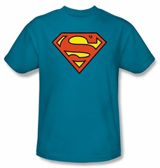 Superman Logo T-shirt DC Comics Adult Turquoise Tee Shirt