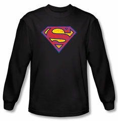 Superman Long Sleeve T-shirt DC Comics Neon Distress Logo Black Shirt