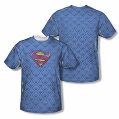 Superman Repeat Over Distressed Sublimation Shirt Front/Back Print