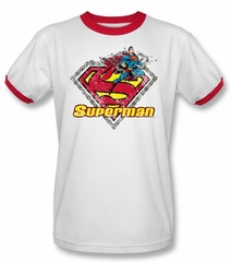 Superman Ringer T-shirt EST. 1939 Chains Logo White/Red Tee Shirt