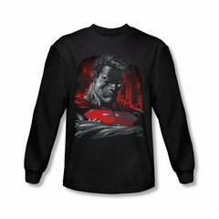 Superman Shirt Bust Long Sleeve Black Tee T-Shirt
