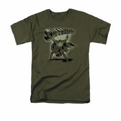 Superman Shirt Camo Colored Military Green T-Shirt