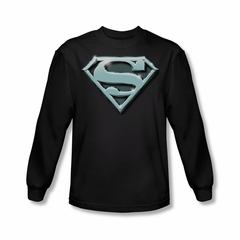 Superman Shirt Chrome Shield Long Sleeve Black Tee T-Shirt