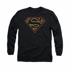 Superman Shirt Colored Shield Long Sleeve Black Tee T-Shirt